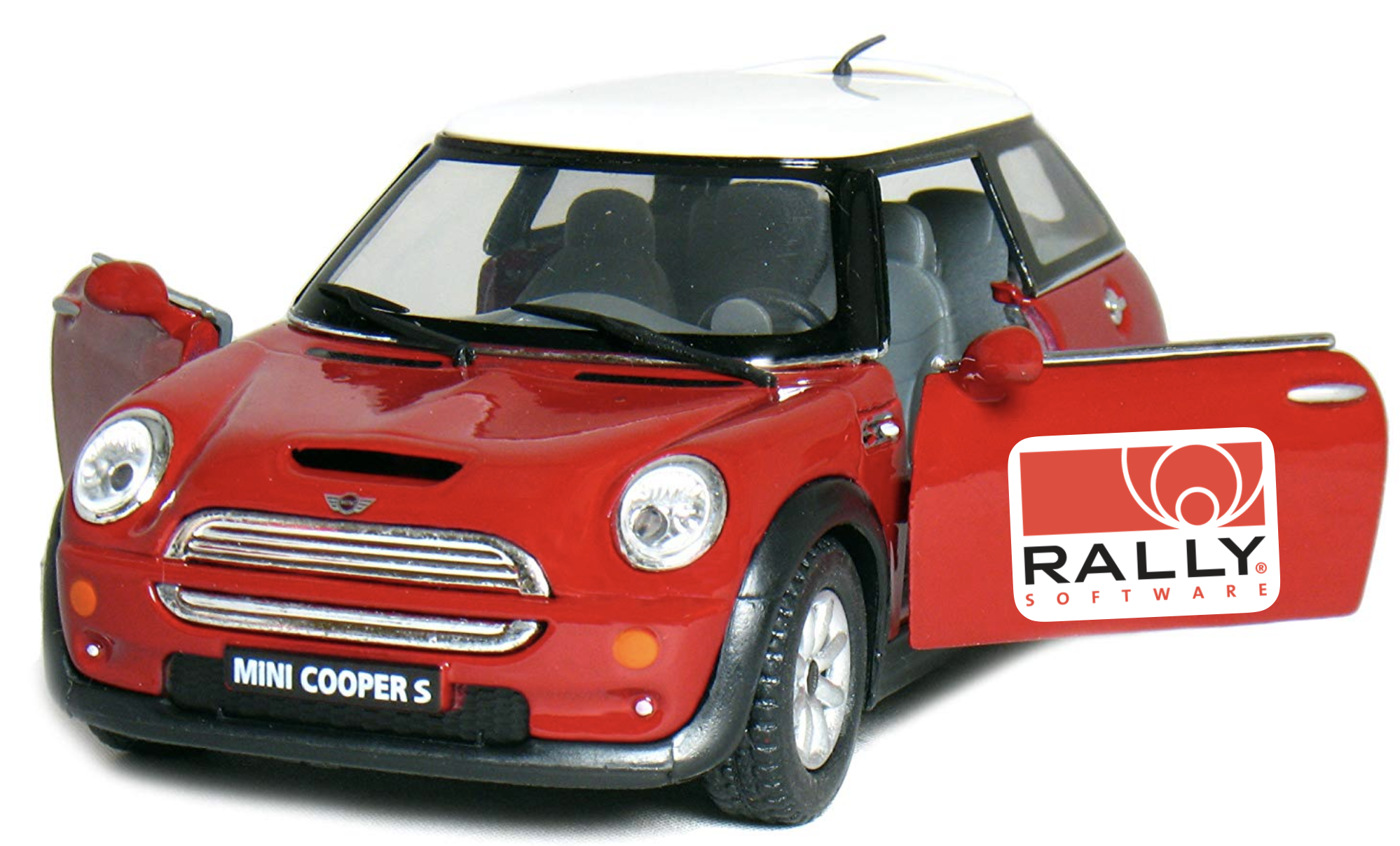 red rally car with logo